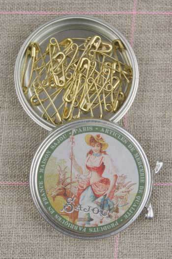 Metal Tins with Miniature Safety Pins ~ SAJOU