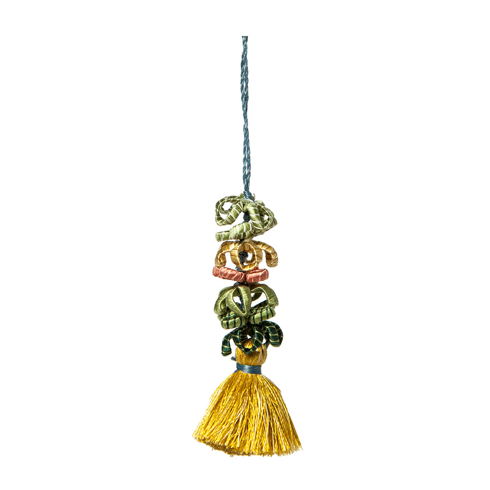 Silk Tassel - Green & Gold