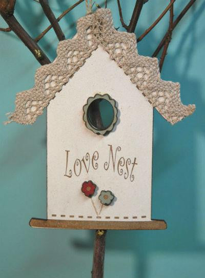 CREAM LOVE NEST BIRDCAGE ORNAMENT ~ The Bee Company