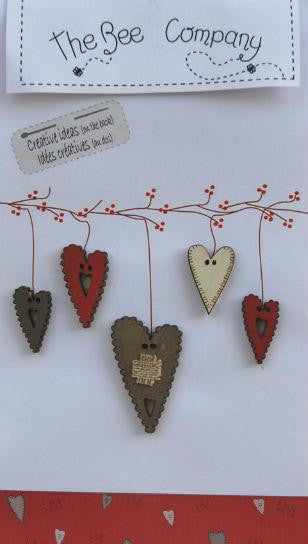 GREY 5 ASSORTED HEART ~ The Bee Company