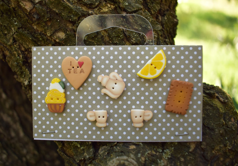 Tea Time button set ~ PuntiniPuntini