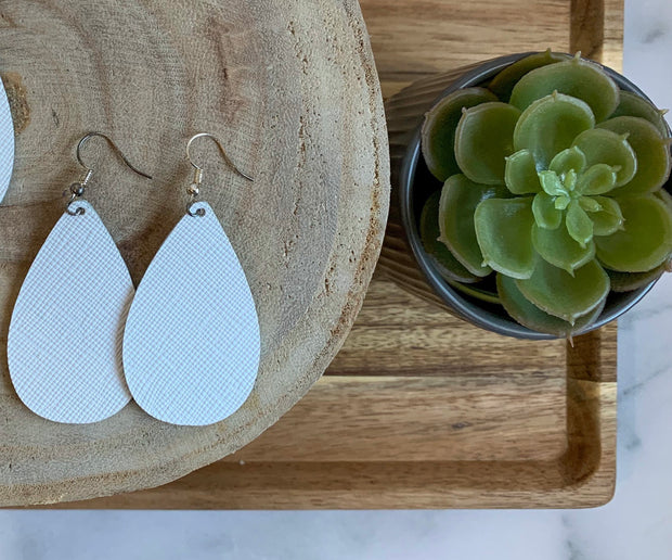 Bright White Saffiano Teardrops | FireWife Fashion