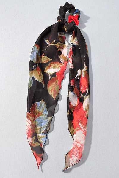 Kari Floral Hair Scarf - Black