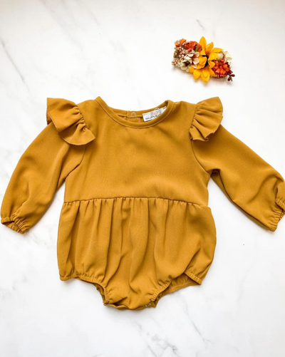 Rhodes Ruffle Bubble Romper | Dusty Mustard