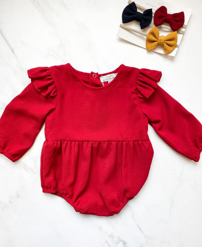 Rhodes Ruffle Bubble Romper | Cherry Red