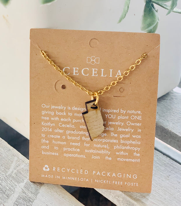 Nebraska Wood Necklace