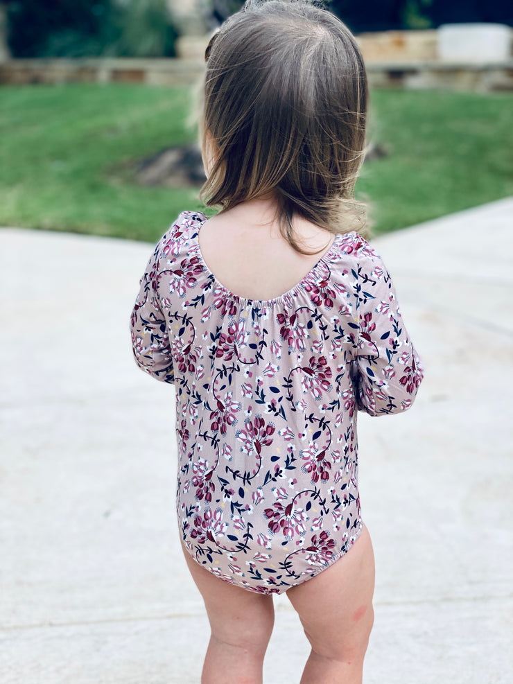 Livee Long Sleeve Leotard | Tan & Ranunculus Red