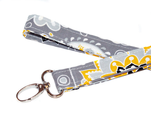 Gray and Yellow Floral Fabric Lanyard