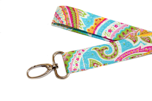 Pink and Blue Paisley Lanyard