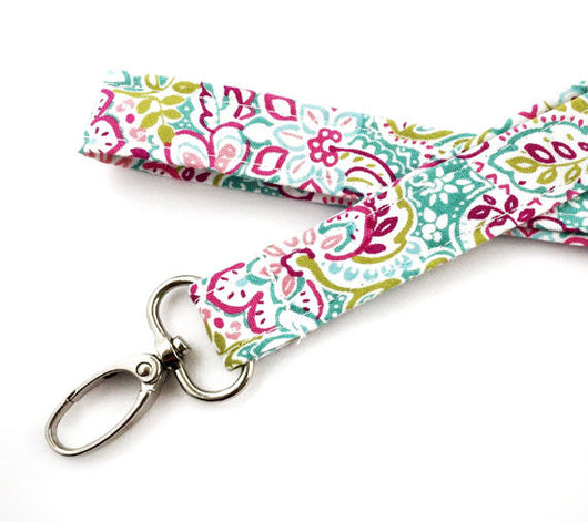 Pink and Teal Floral Lanyard