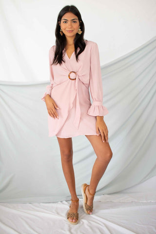 Soft Pink long sleeve dress with sandals and earrings