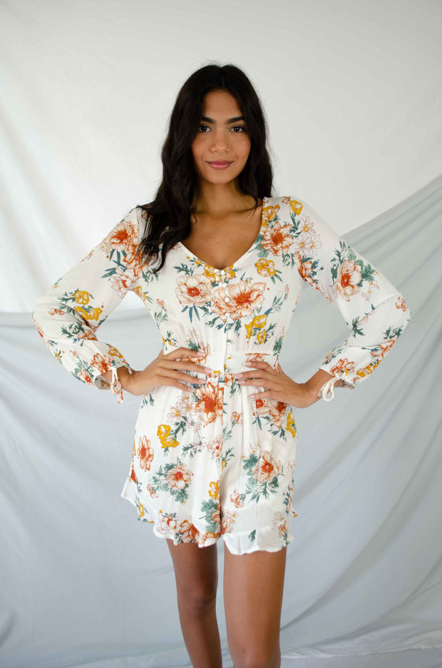 Hand to Hold Floral Romper White