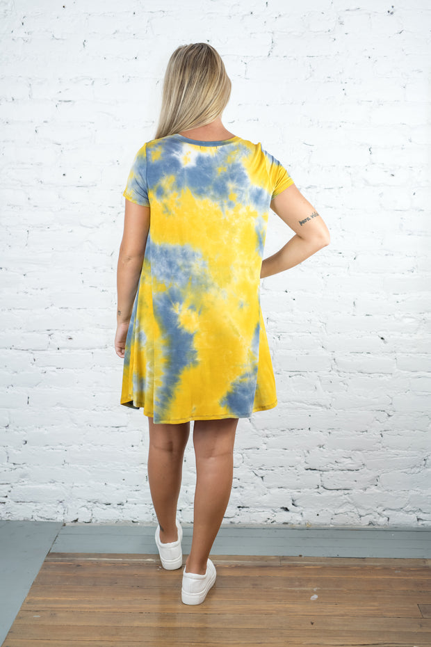 Running Away Tie Dye Dress Yellow