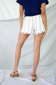 Feel the Fringe Striped Shorts White