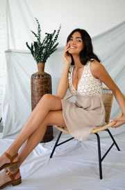 Crochet My Day Dress Taupe