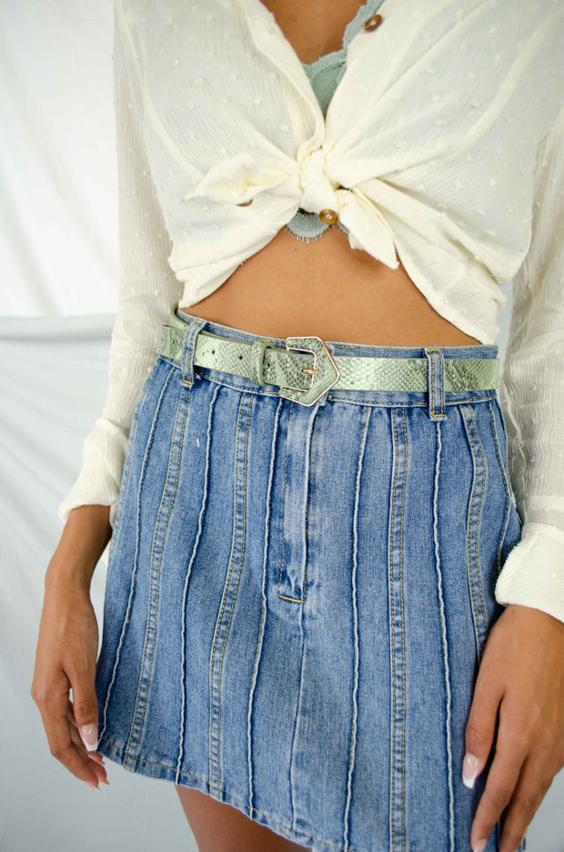 In Touch Striped Denim Skirt