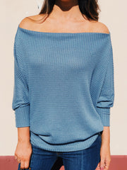 Let's Stay In Off-Shoulder Top Faded Blue - Shellsea