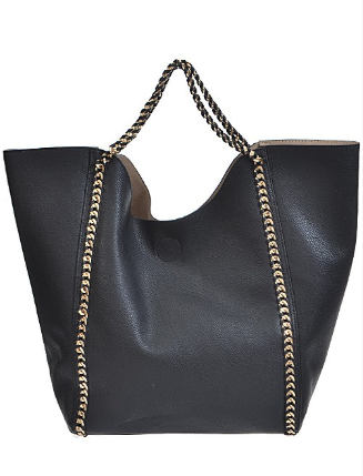 Double Side Golden Chain Handbag Black - Shellsea