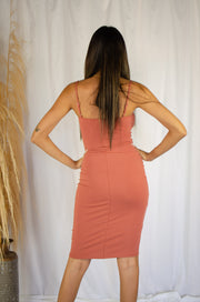 Body Hugging Midi Dress Rust