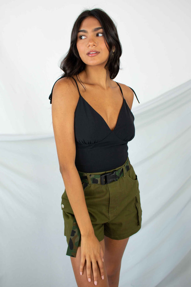 Effortless Example Crop Tank Top Black