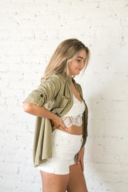 Speak Up Button Down Top Olive