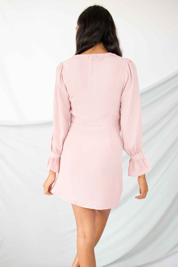 Mine Now Twist Front Dress Pink