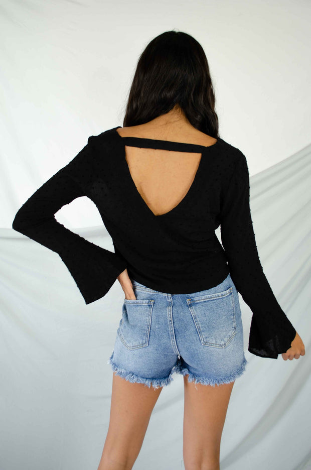 Flip the Script Open Back Top Black