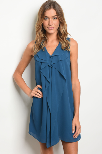 Love Of Ruffles Teal Dress - Shellsea