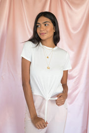 Cool and Calm Cropped Tie Top White