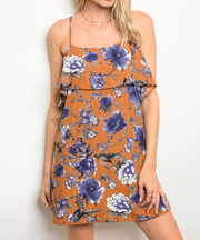 Through The Forest Floral Dress Camel - Shellsea