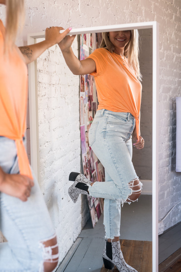 Cool and Calm Cropped Tie Top Orange