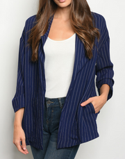 Lets Talk About It Striped Blazer Navy - Shellsea