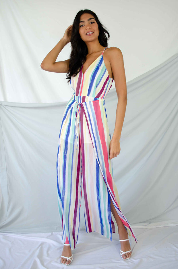 Steal The Show Multicolor Striped Jumpsuit