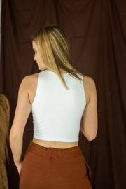 Jay Ribbed Crop Top White