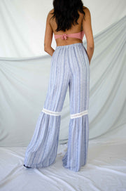 Tropic Fever Bell Bottom Pants Blue