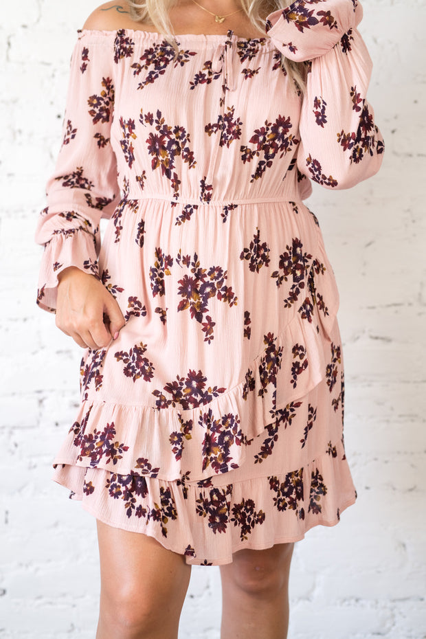Piece of Advice Off The Shoulder Dress Pink