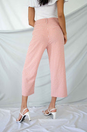 Checker Out Cropped Pants Mauve