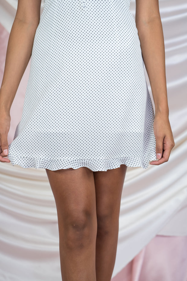 Heartbreak Weather Polka Dot Dress White