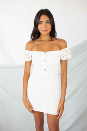 Write Your Story Eyelet Dress White