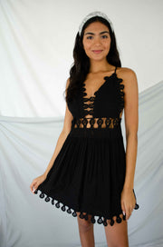 Big Escape Crochet Lace Dress Black
