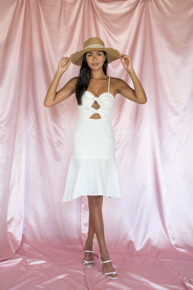 Bow Your Worth Sleeveless Dress White