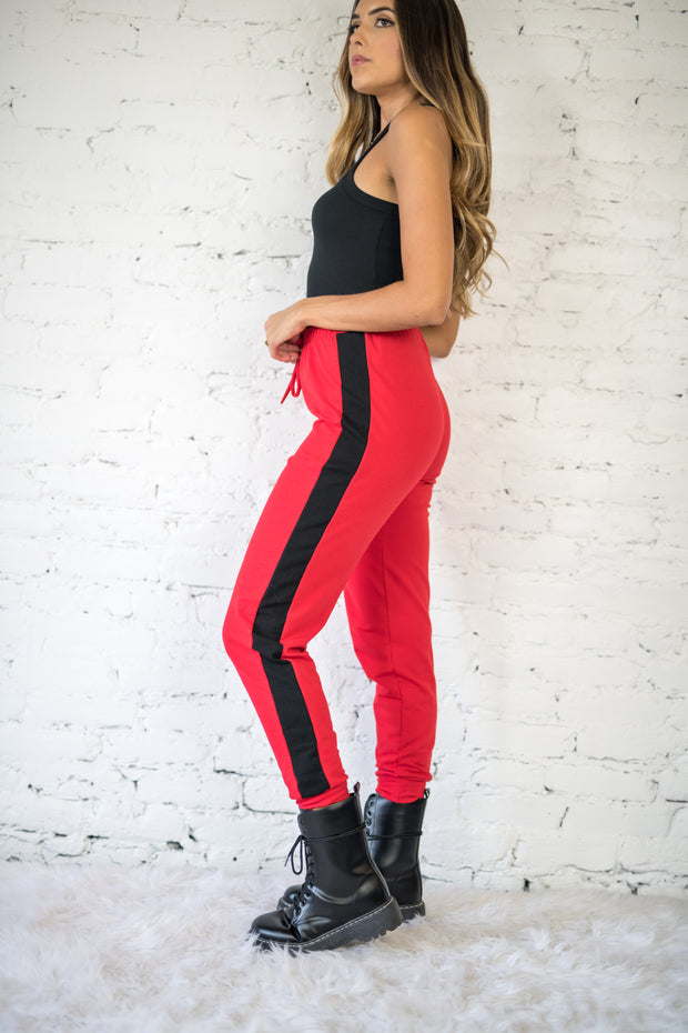 Stripe Your Interest Joggers Red
