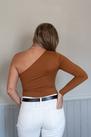 Locked Up One Shoulder Bodysuit Cognac