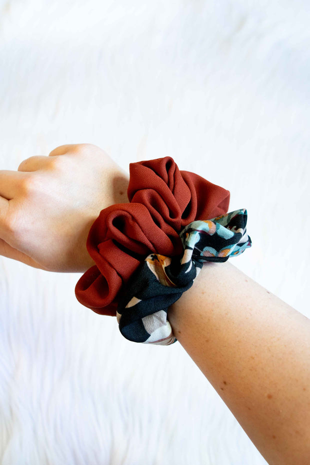 Scrunchie 2-Pack Rust and Floral