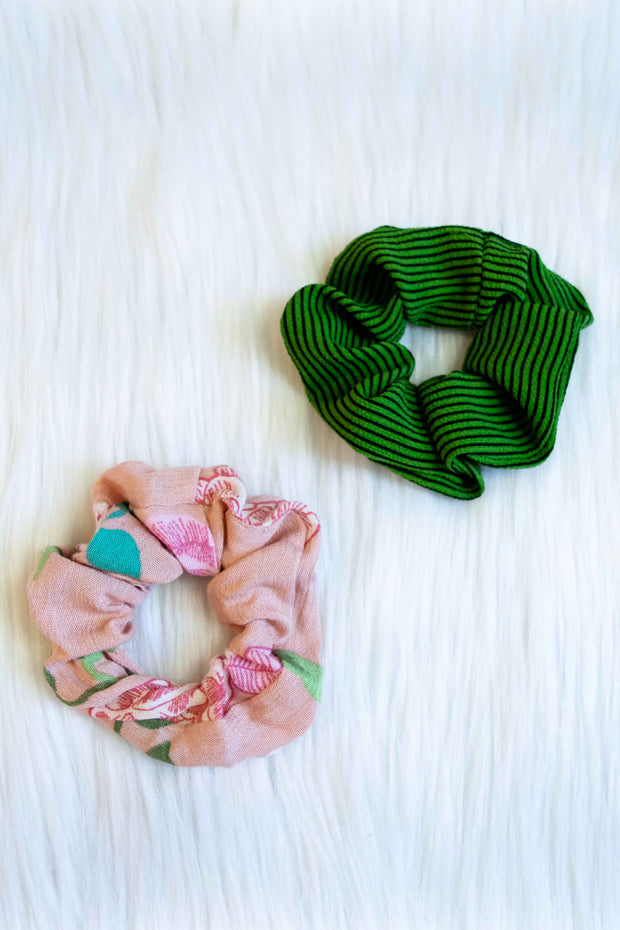 Scrunchie 2-Pack Pink Floral and Green Stripes
