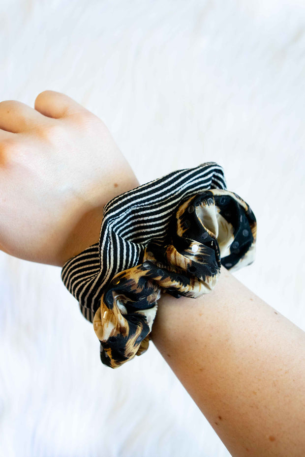 Scrunchie 2-Pack Leopard and Stripes