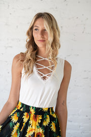 Keep On Shining Tank Top Ivory