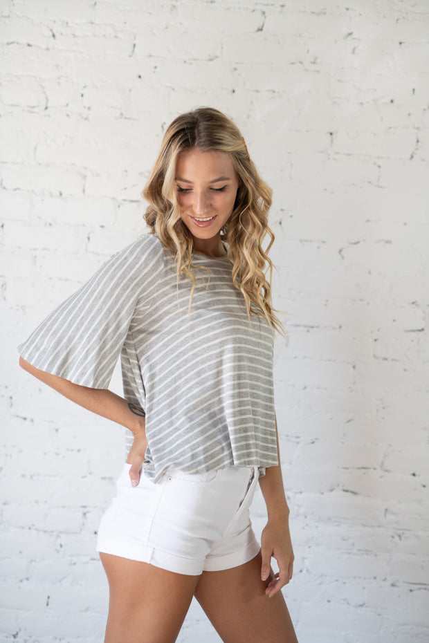 Running Into You Striped Top Grey