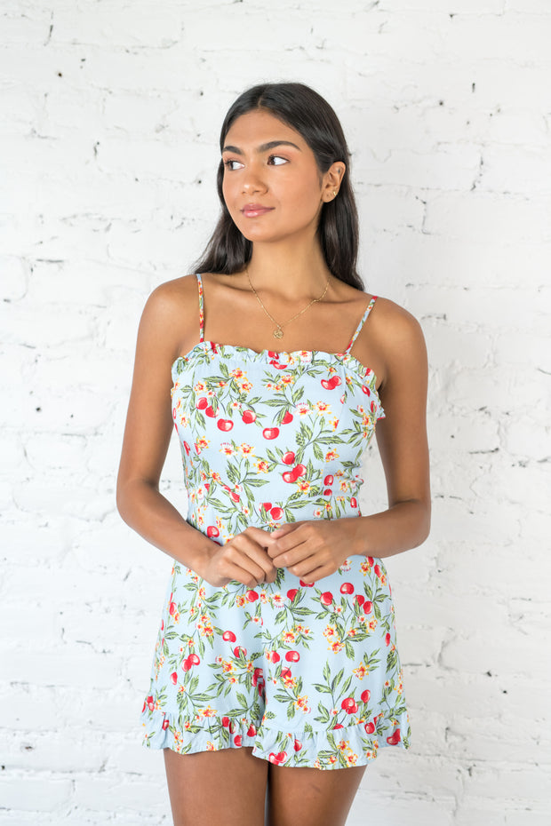 Cherry Tales Romper Blue
