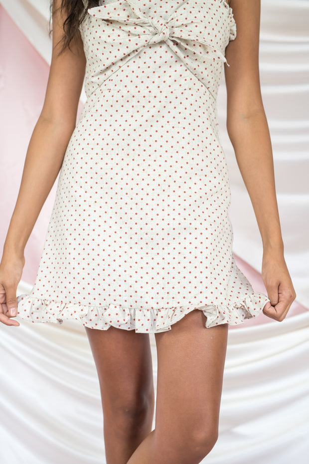 Non Stop Spots Tie Front Dress